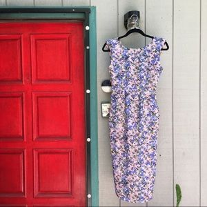 Anthropologie Floral Pencil Skirt Dress w Pockets